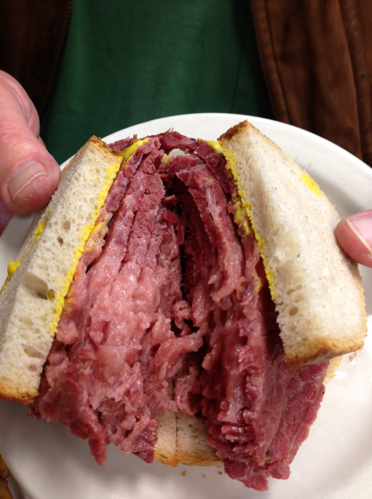 Smoked meat at Schwartz's, fatty and fabulous.