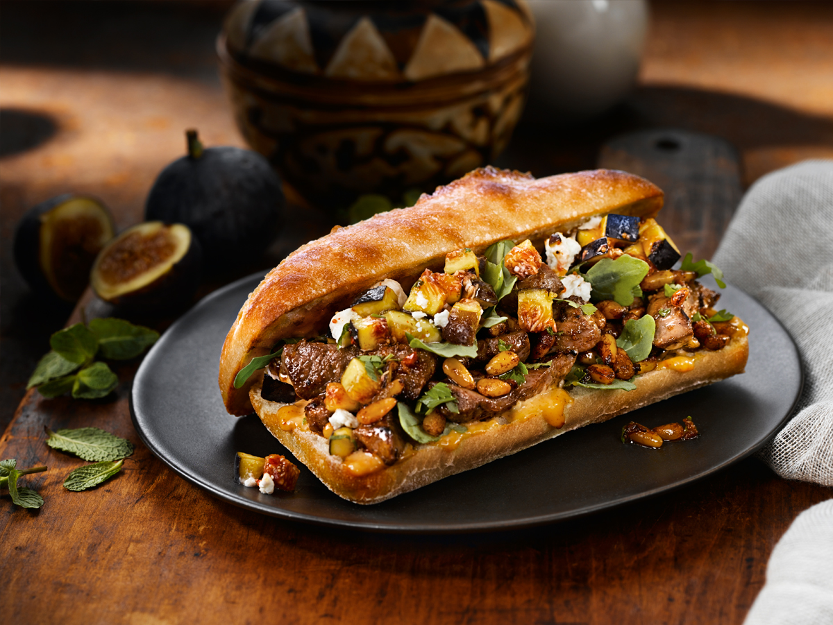 North African Lamb Sandwich with Chévre,  Harissa and Figs