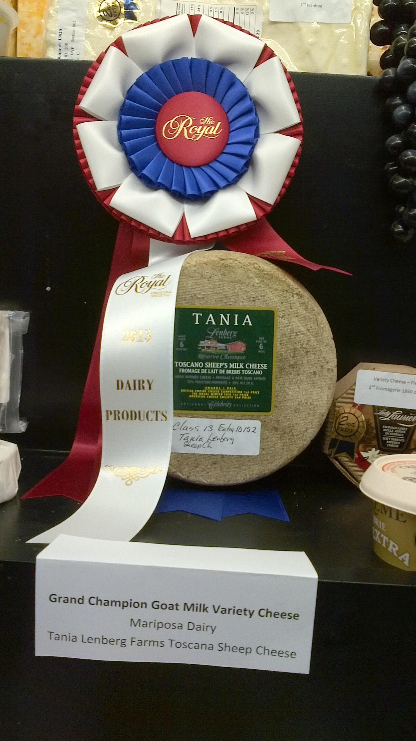 Grand Champion: Tania Lenberg Farms Toscano Sheep Cheese.