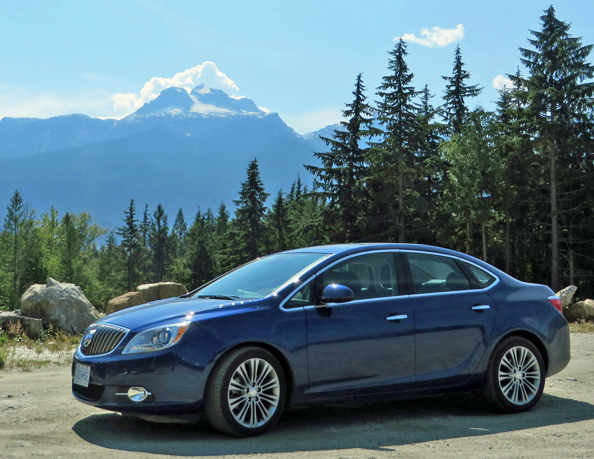 Our elegant cheesemobile, aka Buick Verano Turbo, at Mt. Revelstoke in B.C.