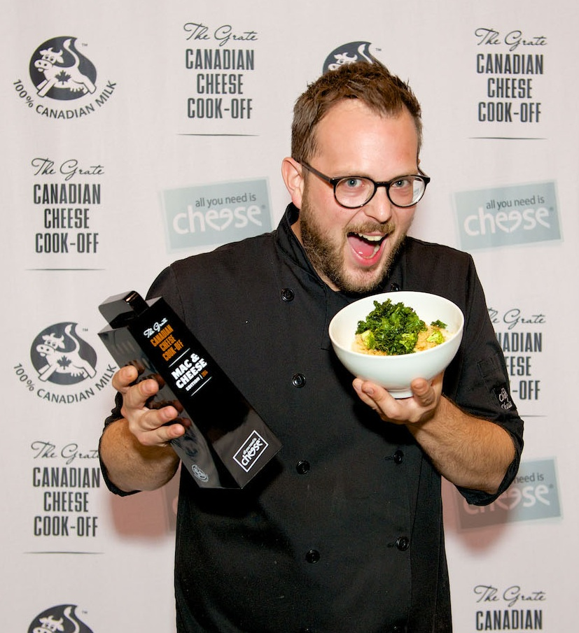 Chef Andrew Farrell and Crispy Greens Mac & Cheese.