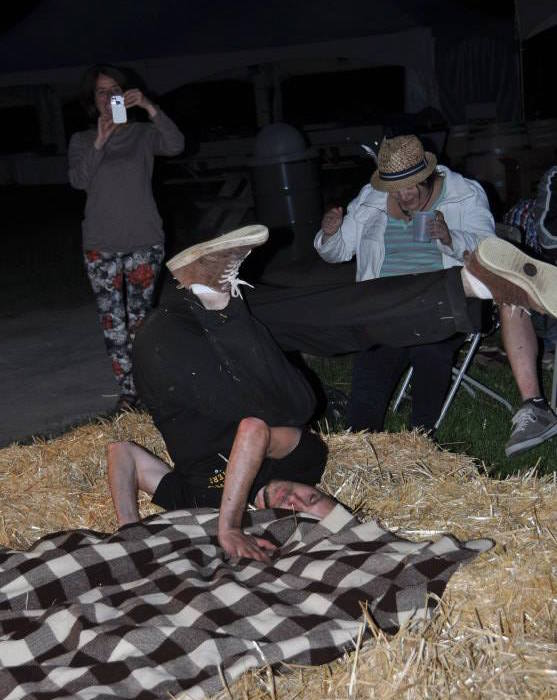 Unauthorized photo of Mike McKenzie break dancing in the straw at Makers+Mongers last year.